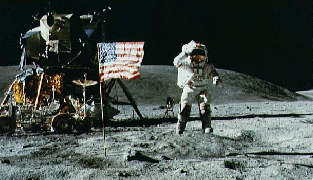 Moon Landing and American Flag