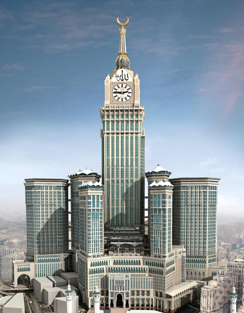 World s biggest clock on tallest tower of makkah yasir for Tallest hotel in the world