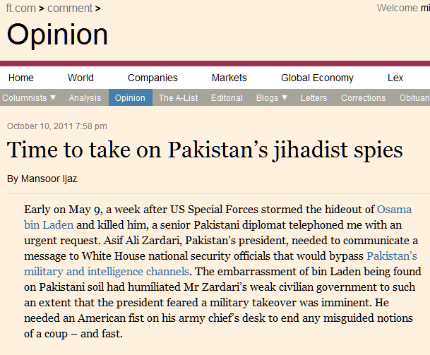 Time to take on Pakistan's jihadist spies - FT.com